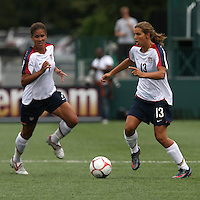 USWNT's Shannon Boxx (7, left) and Tobin Heath (13). The U.S. Women's National Team defeated Canada 1-0 in a friendly match at Marina Auto Stadium in Rochester, NY on July 19, 2009. Abby Wambach of the USWNT scored her 100th career goal in the second half..