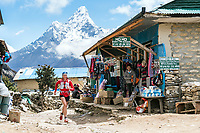 Trail running through the village of Khumjung, in Nepal's Khumbu Region.