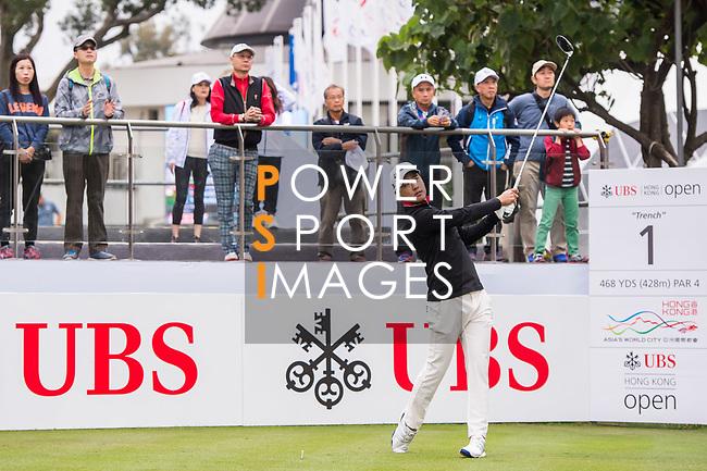 Shih-Chang Chan of Taiwan tees off during the day four of UBS Hong Kong Open 2017 at the Hong Kong Golf Club on 26 November 2017, in Hong Kong, Hong Kong. Photo by Marcio Rodrigo Machado / Power Sport Images