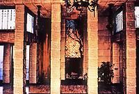 Frank Lloyd Wright, Architect. Ennis-Brown House, interior. Mayan textile block. Photo 1976.