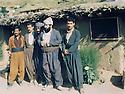 Iraq 1986 .In Qandil mountains, headquarters of the Socialist Democratic party of Kurdistan , second right, Hama Haji Mahmoud .Irak 1986.Dans les montagne de Qandil, le quartier general du parti socialiste democratique du Kurdistan, 2 eme a droite, Hama Haji Mahmoud