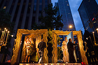 Art Float at Night, Seafair Torchlight Parade 2015, Seattle, Washington State, WA, America, USA.