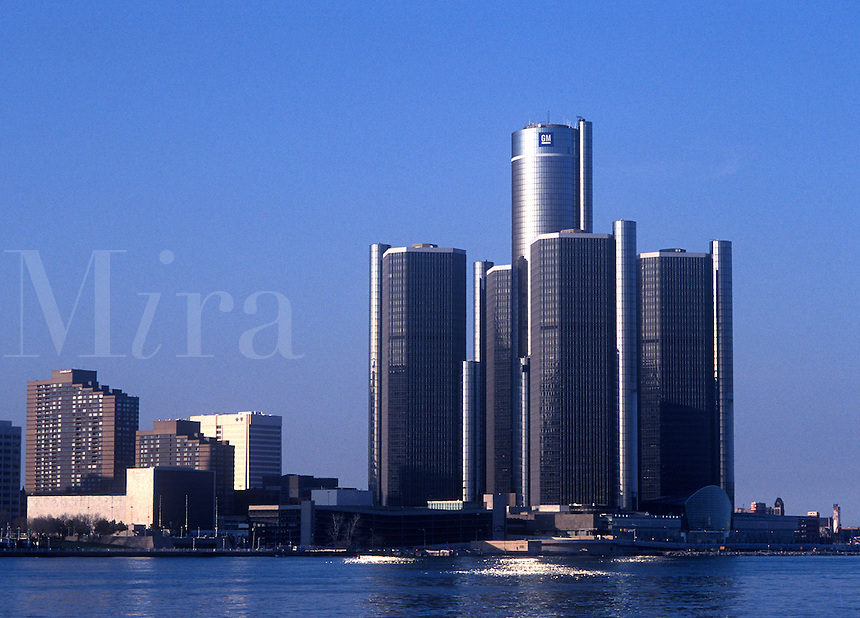 Renaissance Center on the Detroit River , Detroit, Michigan