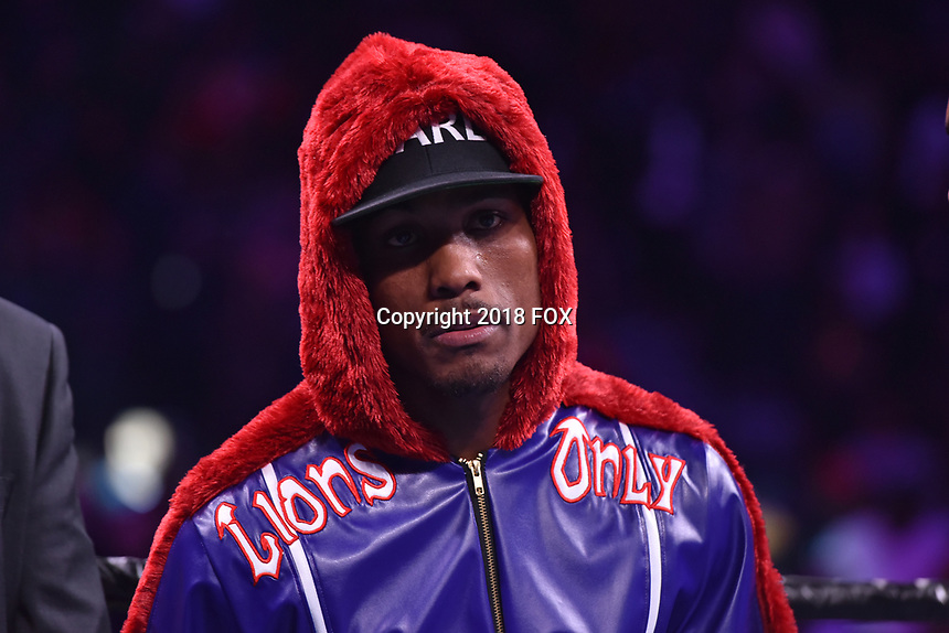 """BROOKLYN, NY - DECEMBER 22: Professional boxer Jermall Charlo enters the ring for his WBC Interim Middleweight Championship bout against Russian boxer Matt Korobov at the Fox Sports and Premier Boxing Champions  December 22 """"PBC on Fox"""" Fight Night at the Barclays Center on December 22, 2018 in Brooklyn, New York. (Photo by Anthony Behar/Fox Sports/PictureGroup)"""
