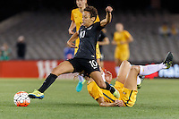 June 7, 2016: SARAH GREGORIUS (10) of New Zealand controls the ball during an international friendly match between the Australian Matildas and the New Zealand Football Ferns as part of the teams' preparation for the Rio Olympic Games at Etihad Stadium, Melbourne. Photo Sydney Low