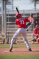 Cincinnati Reds center fielder Mariel Bautista (73) during a Minor League Spring Training game against the Los Angeles Angels at the Cincinnati Reds Training Complex on March 15, 2018 in Goodyear, Arizona. (Zachary Lucy/Four Seam Images)