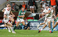 Friday 8th October 2021<br /> <br /> David McCann passes inside to Nathan Doak during the URC Round 3 clash between Ulster Rugby and Benetton Rugby at Kingspan Stadium, Ravenhill Park, Belfast, Northern Ireland. Photo by John Dickson/Dicksondigital