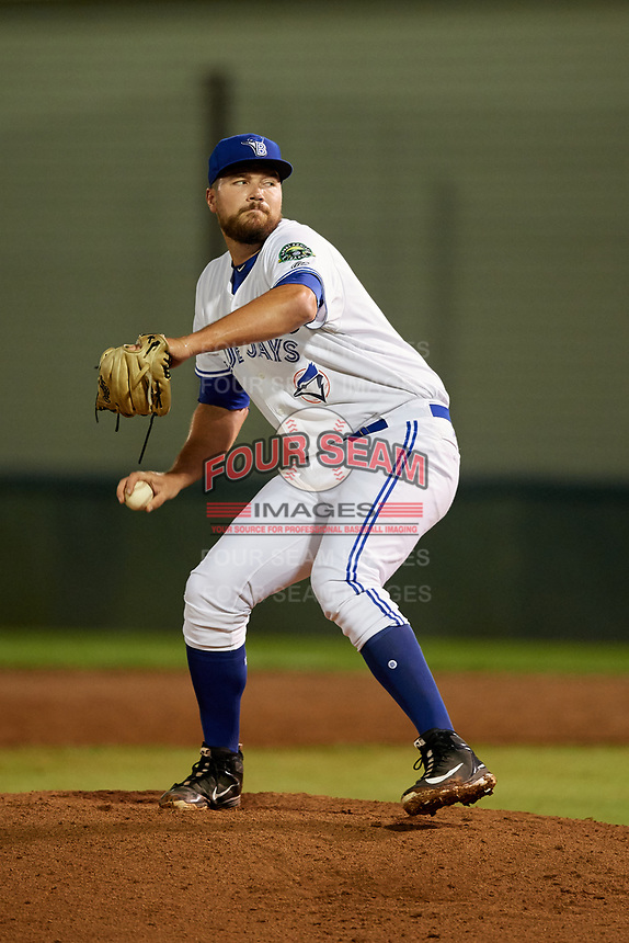 Bluefield Blue Jays relief pitcher Brennan Price (52) delivers a pitch during the second game of a doubleheader against the Bristol Pirates on July 25, 2018 at Bowen Field in Bluefield, Virginia.  Bristol defeated Bluefield 5-2.  (Mike Janes/Four Seam Images)