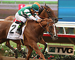 """DEL MAR, CA  JULY 30: #2 Stellar Wind and Victor Espinoza lunge in front of Beholder and Gary Stevens to win the Clement L. Hirsch Stakes (Gl) """"Win and You're in Breeders' Cup Distaff Division"""" at Del Mar Turf Club in Del Mar, CA on July 30, 2016. (Photo by Casey Phillips/Eclipse Sportswire/Getty Images)DEL MAR, CA  JULY 30: #2 Stellar Wind with Victor Espinoza beat Beholder and Gary Stevens in the Clement L. Hirsch Stakes (Gl) """"Win and You're in Breeders' Cup Distaff Division"""" at Del Mar Turf Club in Del Mar, CA on July 30, 2016. (Photo by Casey Phillips/Eclipse Sportswire/Getty Images)"""