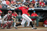 Texas Tech Red Raiders third baseman Easton Murrell (19) follows through on his swing during Game 5 of the NCAA College World Series against the Arkansas Razorbacks on June 17, 2019 at TD Ameritrade Park in Omaha, Nebraska. Texas Tech defeated Arkansas 5-4. (Andrew Woolley/Four Seam Images)
