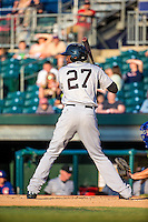 Gabby Guerrero (27) of the Jackson Generals bats during a game between the Jackson Generals and Chattanooga Lookouts at AT&T Field on May 7, 2015 in Chattanooga, Tennessee. (Brace Hemmelgarn/Four Seam Images)