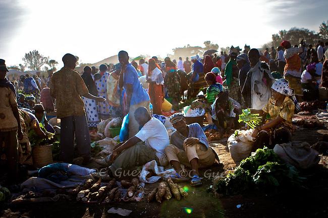 A Maasai market scene outside of Arusha, Tanzania on September 24, 2008.