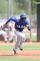 Eric Jenkins (2) of the AZL Rangers runs the bases during a game against the AZL Padres at the San Diego Padres Spring Training Complex on July 5, 2015 in Peoria, Arizona. Padres defeated Rangers, 9-2. (Larry Goren/Four Seam Images)