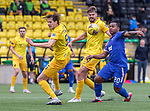 16.08.2020 Livingston v Rangers: Alfredo Morelos with defenders Jack Fitzwater and Jon Guthrie