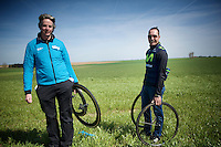mécano-de-luxe for Team Movistar: non other than cycling legend Erik Zabel was there to help them out (as a liaison for team sponsor Canyon bike)<br /> <br /> 113th Paris-Roubaix 2015