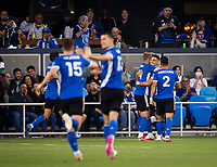 SAN JOSE, CA - AUGUST 17: Cristian Espinoza, Jackson Yueill, Luciano Abecasis during a game between Minnesota United FC and San Jose Earthquakes at PayPal Park on August 17, 2021 in San Jose, California.
