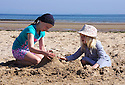 30/05/16 <br /> <br /> Autumn Wild, 10,  and  Austyn Wild, 6   from Chesterfield playing on the beach. <br /> Bank Holiday Monday on Benllech beach in Anglesey<br /> <br /> All Rights Reserved: F Stop Press Ltd. +44(0)1335 418365   +44 (0)7765 242650 www.fstoppress.com