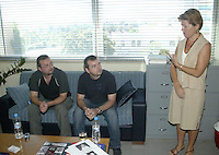 COPY BY TOM BEDFORD<br /> Pictured: Chris Cook (L) the brother of Steven Cook with the British Consul to Heraklion (R) when he visited Crete a few days after his disappearance. 06 September 2005<br /> Re: Police have found the remains of the body in a well near a cemetery in Malia, on the Greek island of Crete with local news outlets speculating that it maybe that of 20 year old Briton Steven Cook who went missing on the 1st of September 2005. A disposable camera and a belt were reportedly found next to the remains.