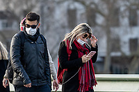 London UK, People wear masks around Westminster in an attempt to avoid contracting the Coronavirus (COVID-19) on 13 March 2020. Photo by David Horn / PRiME Media Images.