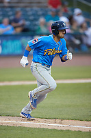 Reivaj Gacia (1) of the Myrtle Beach Pelicans hustles down the first base line against the Lynchburg Hillcats at Bank of the James Stadium on May 22, 2021 in Lynchburg, Virginia. (Brian Westerholt/Four Seam Images)