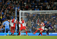21st September 2021; Etihad Stadium,Manchester, England; EFL Cup Football Manchester City versus Wycombe Wanderers; Riyad Mahrez of Manchester City beats Wycombe Wanderers goalkeeper David Stockdale to give his side a 2-1 lead after 42 minutes
