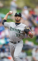 Dayton Dragons pitcher Jose Lopez (33) makes a pickoff throw to first base against the West Michigan Whitecaps on April 24, 2016 at Fifth Third Ballpark in Comstock, Michigan. Dayton defeated West Michigan 4-3. (Andrew Woolley/Four Seam Images)