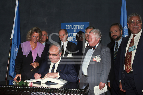 United Nations Conference on Environment and Development, Rio de Janeiro, Brazil, 3rd to 14th June 1992. German Chancellor Helmut Kohl signing the Biodiversity Convention