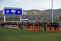HERRIMAN, UT - JULY 17: Utah Royals FC and Houston Dash players enter the field during a game between Utah Royals FC and Houston Dash at Zions Bank Stadium on July 17, 2020 in Herriman, Utah.