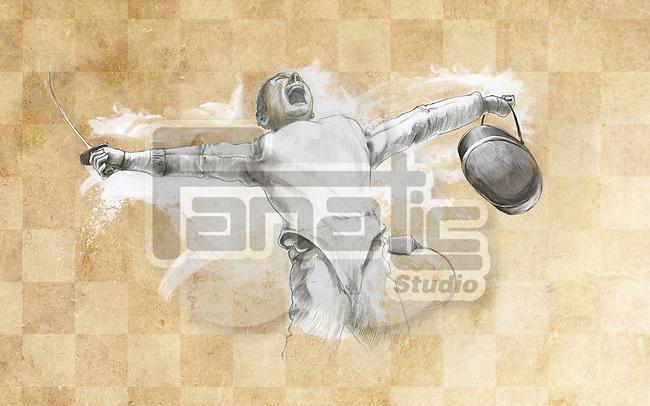 Illustrative image of fencer screaming over victory