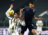 Calcio, Serie A: Juventus FC - S.S.Lazio, Turin, Allianz Stadium, March 6, 2021.<br /> Juventus' Alvaro Morata (l) in action with Lazio's Wesley Hoedt (r) during the Italian Serie A football match between Juventus and Lazio at the Allianz stadium in Turin, on March 6, 2021.<br /> UPDATE IMAGES PRESS/Isabella Bonotto