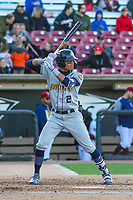 Burlington Bees outfielder Jordyn Adams (2) at bat during a Midwest League game against the Wisconsin Timber Rattlers on April 26, 2019 at Fox Cities Stadium in Appleton, Wisconsin. Wisconsin defeated Burlington 2-0. (Brad Krause/Four Seam Images)