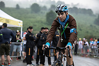 team AG2R La Mondiale rider post race  ready to make the descend back to the team bus. <br /> <br /> Stage 15: Limoux to Foix Prat d'Albis (185km)<br /> 106th Tour de France 2019 (2.UWT)<br /> <br /> ©kramon