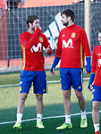 Spain's Sergio Ramos (l) and Gerard Pique during training session. March 20,2017.(ALTERPHOTOS/Acero)