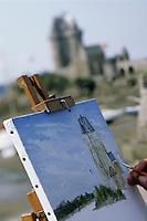 Europe/France/Bretagne/35/Ille et Vilaine/Saint-Malo/Saint-Servan: Francis Beaudoin peint devant la tour Solidor
