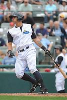Trenton Thunder  catcher Gary Sanchez (35) during game against the Altoona Curve at ARM & HAMMER Park on August 6, 2014 in Trenton, NJ.  Trenton defeated Altoona 7-3.  (Tomasso DeRosa/Four Seam Images)