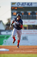 Lowell Spinners right fielder Juan Barriento (44) running the bases during a game against the Batavia Muckdogs on July 11, 2017 at Dwyer Stadium in Batavia, New York.  Lowell defeated Batavia 5-2.  (Mike Janes/Four Seam Images)