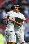Cristiano Ronaldo of Real Madrid celebrates with teammate Pepe during the La Liga match between Real Madrid and Real Sporting de Gijon at the Santiago Bernabeu Stadium on 26 November 2016 in Madrid, Spain. Photo by Diego Gonzalez Souto / Power Sport Images