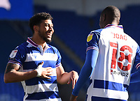 5th April 2021; Madejski Stadium, Reading, Berkshire, England; English Football League Championship Football, Reading versus Derby County;  Lucas Joao of Reading celebrates with Josh Laurent of Reading on scoring in 84th minute 3-1