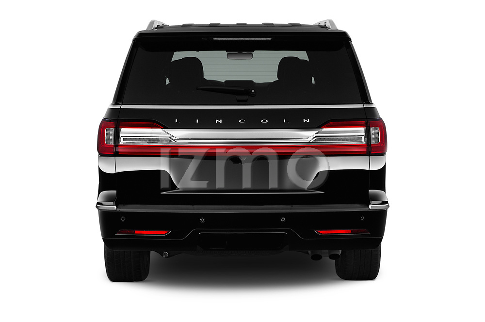 Straight rear view of a 2019 Lincoln Navigator Select L Extended 4x2 5 Door SUV stock images