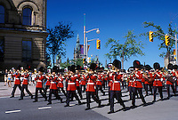Ottawa, Ontario, Canada, Marching band marches down Elgin Street during the Changing of the Guard ceremony on Parliament Hill in the capital city of Ottawa.