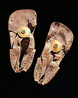 Peru, Pre-Inca civilization,Chimu culture, Leather sandals with gold and turquoise disks
