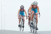28 APR 2012 - LES SABLES D'OLONNE, FRA - Svenja Bazlen (TCC 36) (right) leads team mates Alexandra Cassan-Ferrier (left) and Julie Nivoix (hidden in centre) on the bike during the women's French Grand Prix Series triathlon prologue round in Les Sables d'Olonne, France (PHOTO (C) 2012 NIGEL FARROW)