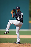 GCL Yankees 2 pitcher Gilmael Troya (97) delivers a pitch during the first game of a doubleheader against the GCL Pirates on July 31, 2015 at the Pirate City in Bradenton, Florida.  GCL Pirates defeated the GCL Yankees 2 2-1.  (Mike Janes/Four Seam Images)