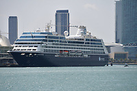 MIAMI BEACH, FL - APRIL 09: COVID-19: As the Cruise ship Azamara Pursuit sits docked at The Port of Miami the U.S. Coast Guard said over 100 cruise ships and 90,000 crew members are still stuck at sea in or near U.S. ports and waters amid coronavirus outbreak on April 09, 2020 in Miami Beach, Florida<br /> <br /> People:  Azamara Pursuit