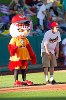 Orem Owlz mascot Holly between innings of the Pioneer League game against the Missoula Osprey at Brent Brown Ballpark on July 23, 2012 in Orem, Utah.  The Owlz defeated the Osprey 6-1.  (Brian Westerholt/Four Seam Images)