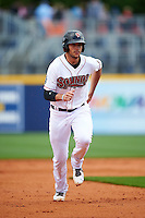 Nashville Sounds right fielder Matt Olson (21) running the bases during a game against the Iowa Cubs on May 4, 2016 at First Tennessee Park in Nashville, Tennessee.  Iowa defeated Nashville 8-4.  (Mike Janes/Four Seam Images)
