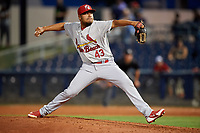 Palm Beach Cardinals relief pitcher Jesus Cruz (43) delivers a pitch during a game against the Charlotte Stone Crabs on April 20, 2018 at Charlotte Sports Park in Port Charlotte, Florida.  Charlotte defeated Palm Beach 4-3.  (Mike Janes/Four Seam Images)