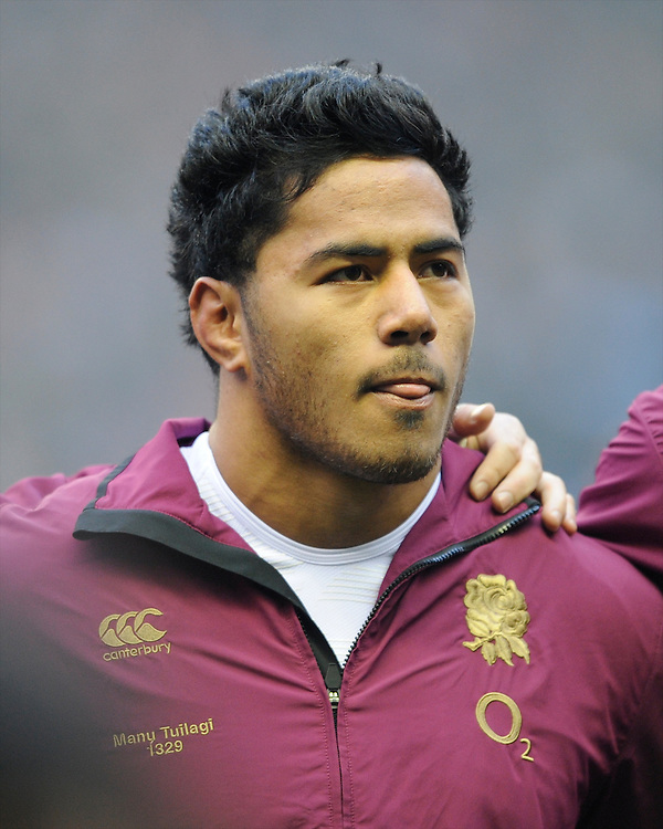 Manu Tuilagi of England during the national anthems during the RBS 6 Nations match between England and France at Twickenham on Saturday 23rd February 2013 (Photo by Rob Munro)