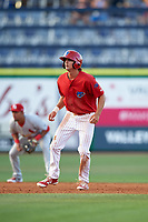 Clearwater Threshers center fielder Mark Laird (6) leads off second base during a game against the Palm Beach Cardinals on April 14, 2017 at Spectrum Field in Clearwater, Florida.  Clearwater defeated Palm Beach 6-2.  (Mike Janes/Four Seam Images)