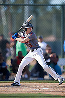 Aiden Olenjack during the Under Armour All-America Pre-Season Tournament, powered by Baseball Factory, on January 19, 2019 at Fitch Park in Mesa, Arizona.  Aiden Olenjack is an outfielder from Willow Park, Texas who attends Aledo High School.  (Mike Janes/Four Seam Images)